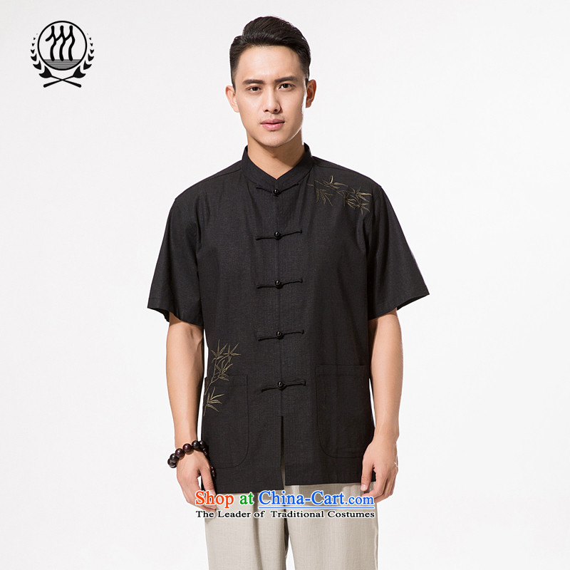 China wind summer men cotton linen embroidery short-sleeved shirt men cotton linen collar manually drive short-sleeved shirt clip relaxd fit in older embroidery short-sleeved shirt聽XXXL_190 black