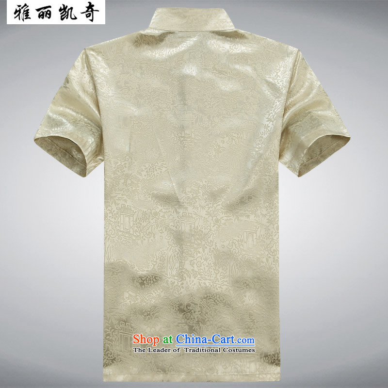 Alice Keci聽2015 new men, older men summer Tang Dynasty Package of older persons for summer and short-sleeved shirt with Chinese grandfather father loading yellow T-shirt聽, at 185, Alice keci shopping on the Internet has been pressed.