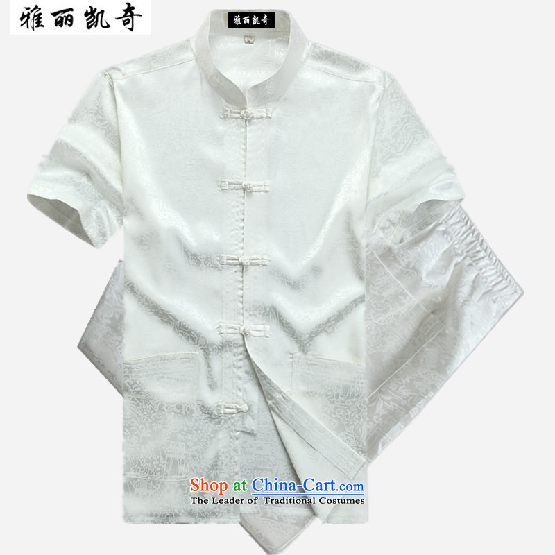 Alice Keci Summer Tang dynasty middle-aged short-sleeved T-shirt and China wind Han-men of older persons in the Men's Shirt Summer Grandpa Chinese short-sleeved Tang Dynasty Package White Kit 185