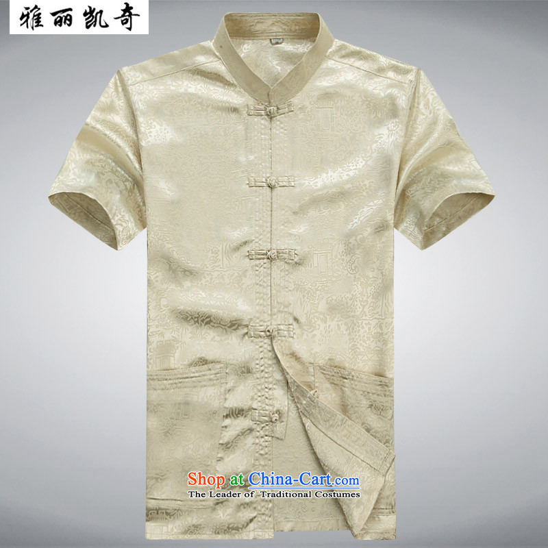 Alice Keci men Tang Dynasty Package summer short-sleeved of older persons in the elderly men's father and grandfather Tang dynasty summer Men's Mock-Neck Shirt and Chinese-m yellow blouse 185