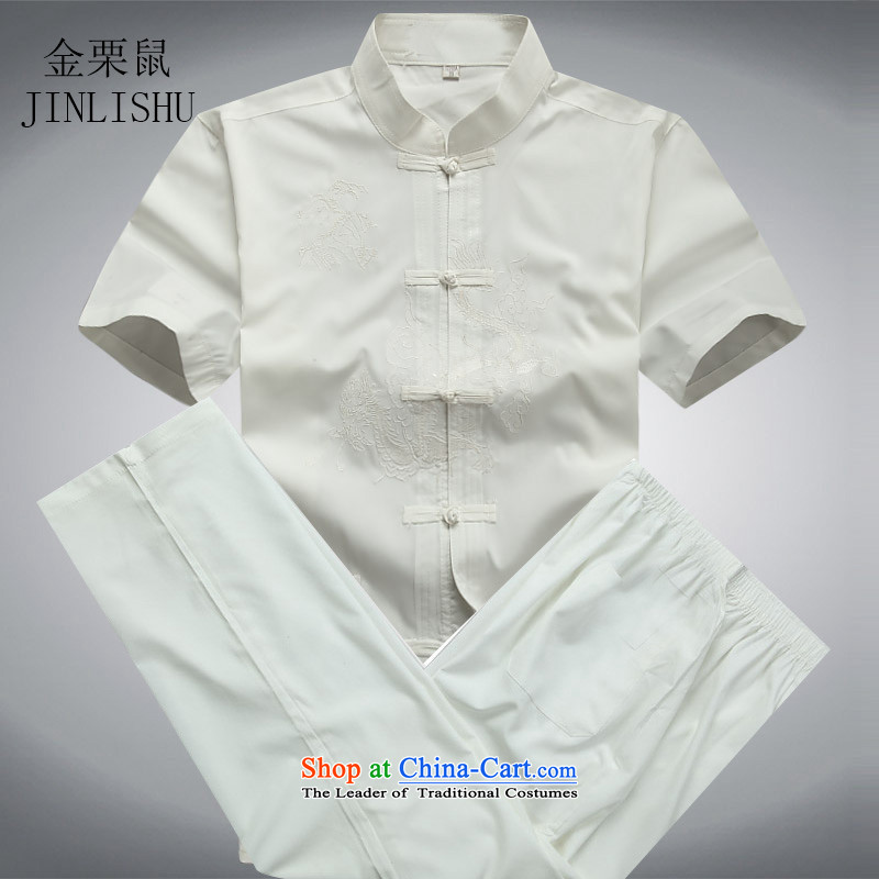 Kanaguri mouse in older men Tang Dynasty Package summer middle-aged short-sleeved Chinese tunic grandpa male Tang dynasty summer white聽XXXL Kit