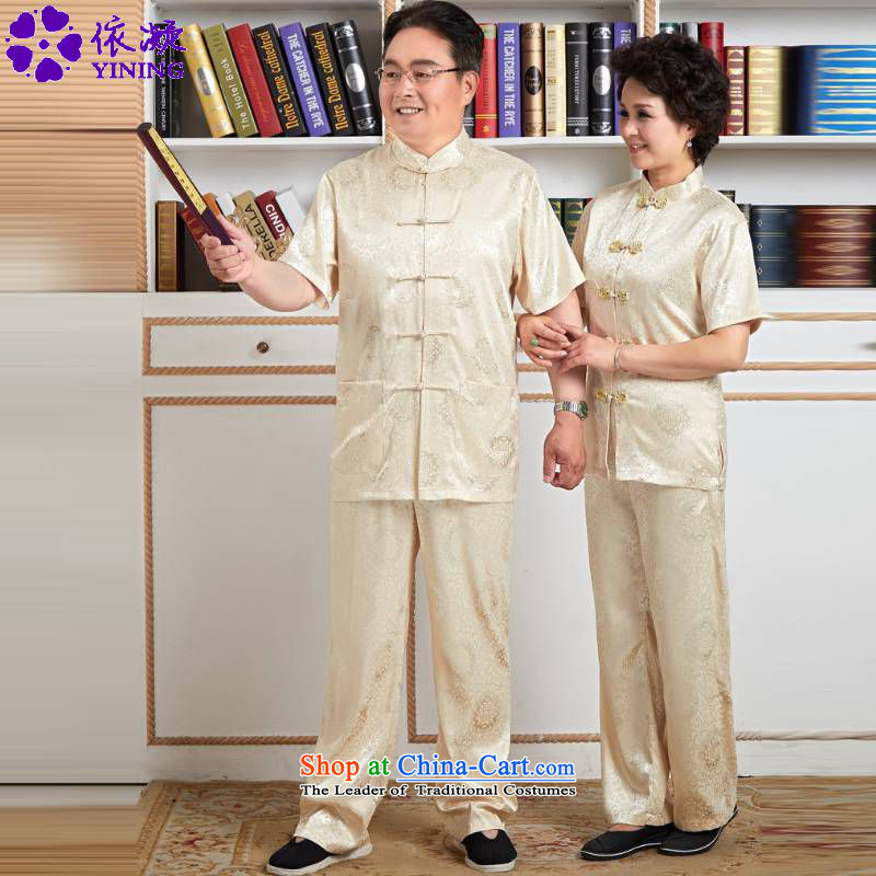 In accordance with the new summer gel older women and men in Tang Dynasty taxi loaded collar classical couples tray clip short-sleeved mom and dad couples Tang Dynasty Package?wns_2524_ -4_?3XL female
