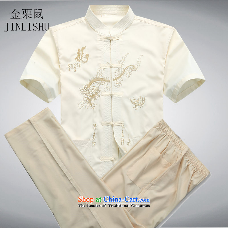 Kanaguri mouse in older men Tang Dynasty Package short-sleeved shirt summer middle-aged short-sleeved Tang dynasty jogging service kit beige聽M