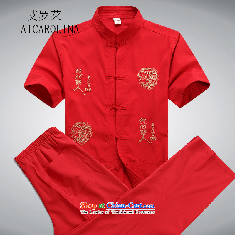 Hiv Rollet men short-sleeved T-shirt Tang Dynasty Chinese Tang dynasty package of older persons in the Tang dynasty middle-aged red kit M/170