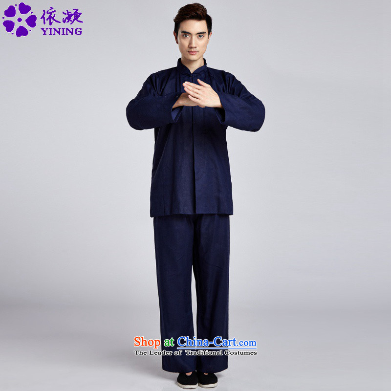 In accordance with the fuser trendy new) Older Men's Mock-Neck Classic Tray Tie long-sleeved shirt + casual pants Tang Dynasty Package?wns/2516# -5# 3XL kung fu clothing