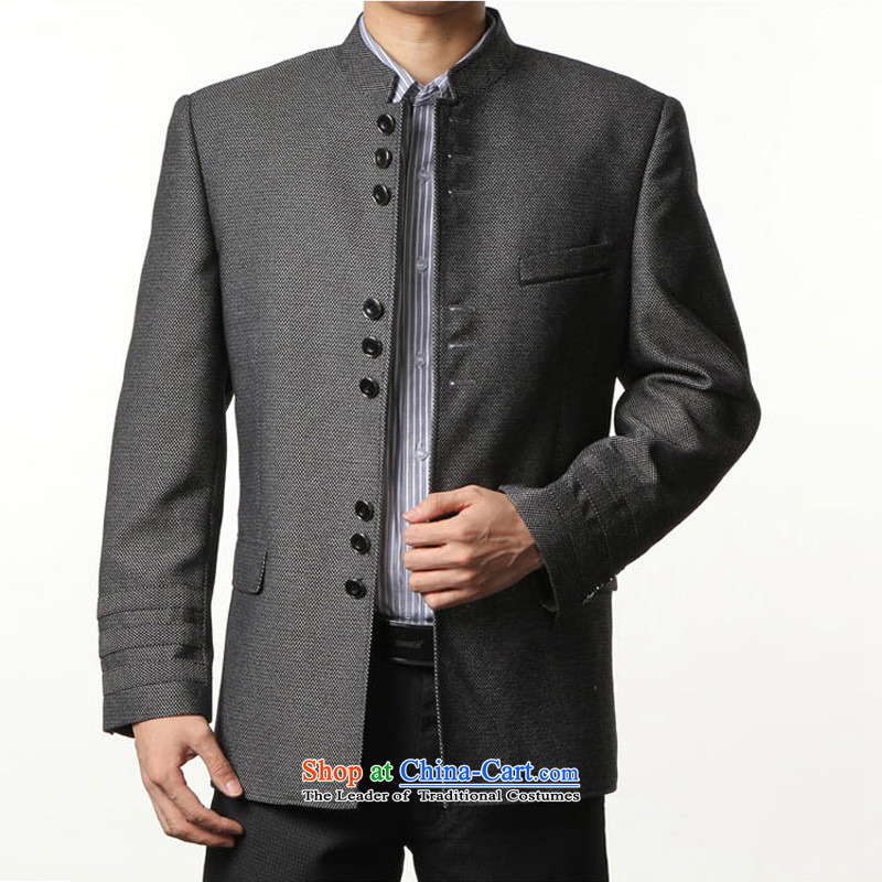 Move wing spring and autumn prince wuwing_ men Chinese tunic Chinese Classical Chinese tunic wool young Chinese tunic suit a mock-neck jacket flower gray  燤_ recommendations 120 catties - 135catty