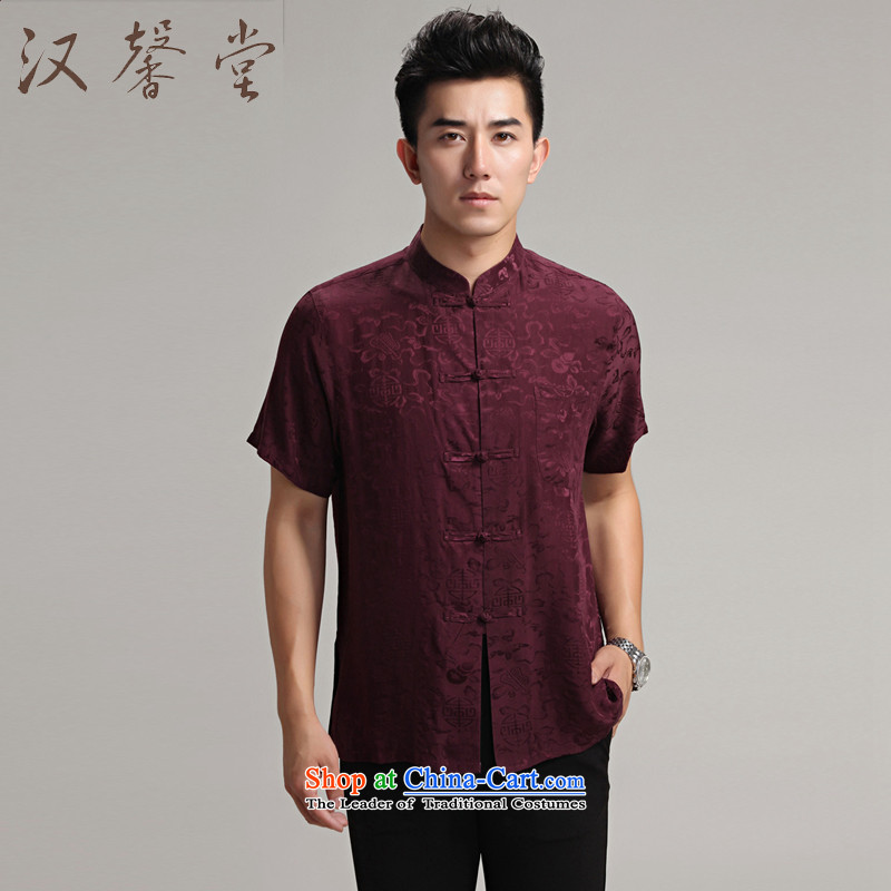 Han Xin Tong Tang Dynasty Short-Sleeve Men silk costume Han-men renunciates Chinese elderly in Zhongshan men China wind silk shirts, wine red L
