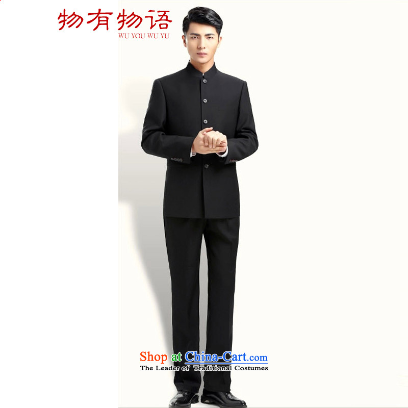 With a Chinese Chinese tunic Chinese collar suits young Korean men who work with uniform attire dress pure black�175-74