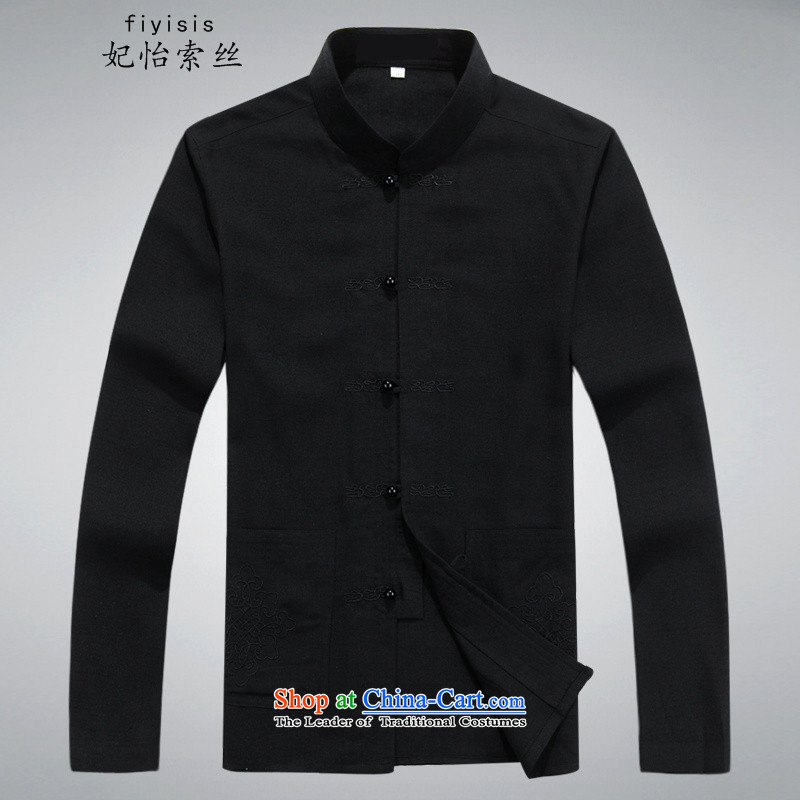 Princess in Selina Chow New China wind Chinese long-sleeved shirt and a long-sleeved plus Tang Dynasty is indeed intensify leisure father Tang dynasty during the spring and autumn replacing ball-han-Chinese Tai Chi Services Services XXL/185 black T-Shirt