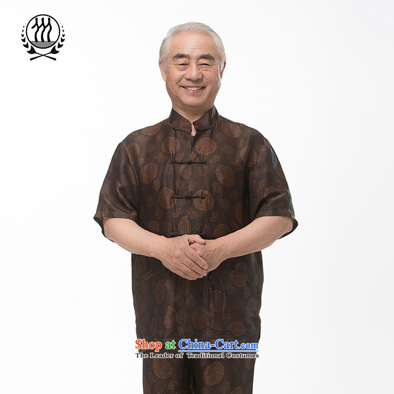 Bosnia and a new summer line thre_ Older cloud of incense yarn short-sleeved Tang Dynasty Package Name Ethnic Wind Millennium pattern silk short-sleeved燽rown燲XXL_190 F970-2 Kit