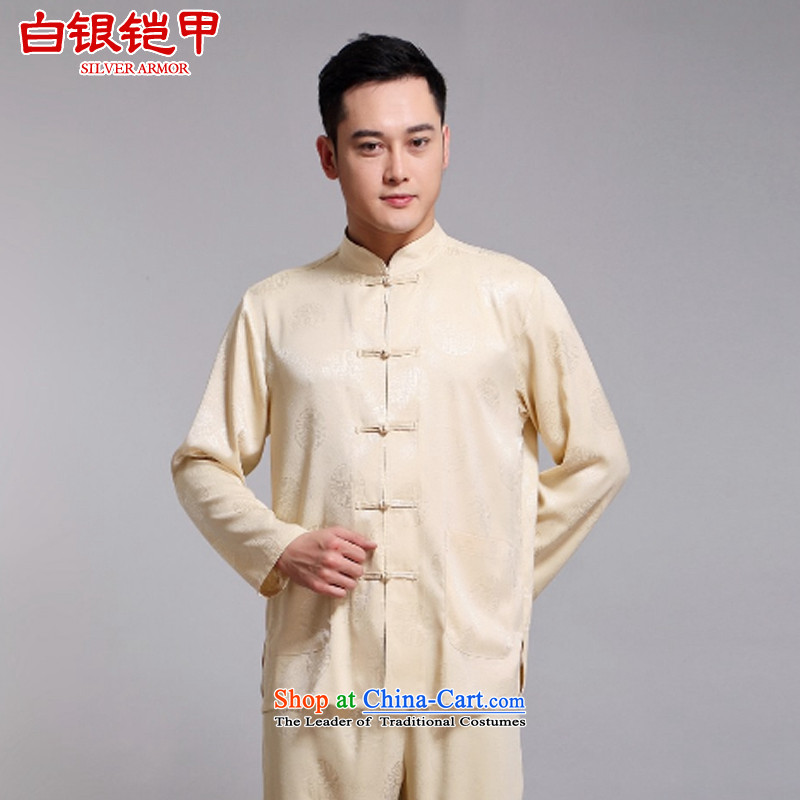 Silver armor in Tang Dynasty older men and packaged new long-sleeved China wind Millennium Han-Menswear Chinese herbs extract Tang casual father Replace Yellow聽175
