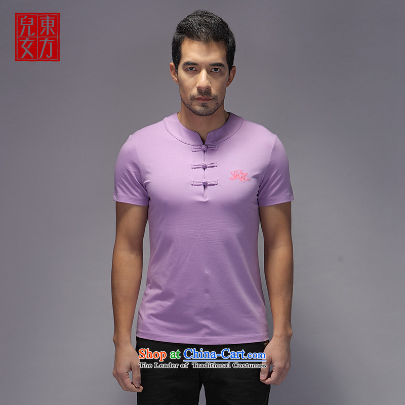 The sons and daughters of the oriental China wind men improved Tang Dynasty Short-Sleeve Mock-Neck Summer Chinese national dress Sau San disk detained lilac?L