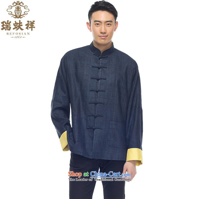 Therefore let Li Rui Silk Tang blouses 2015 New Men Chinese silk shirt retro style wind dark blue燲XL
