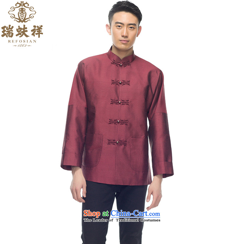 Therefore let Li Rui silk men Tang dynasty 2015 New Chinese shirt stylish shirt stitching retro style with dark red?XL