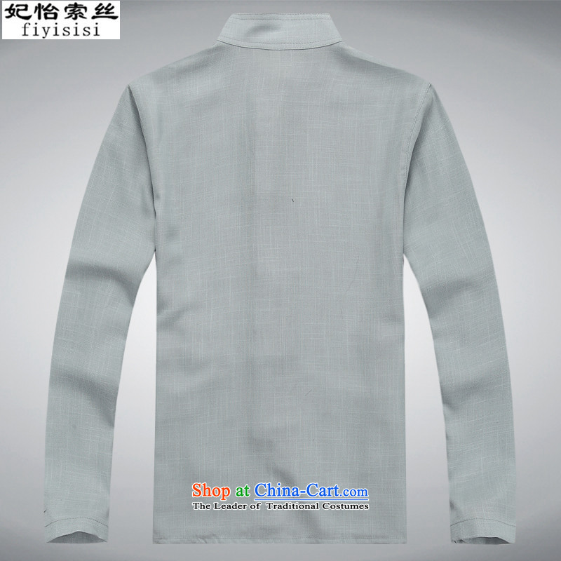 Princess Selina Chow in spring and summer short-sleeved Tang Dynasty Package for older Mock-Neck Shirt Han-national costume China wind to xl father grandfather boxed long-sleeved blue long-sleeved Kit packaged聽40/175, Princess Selina Chow (fiyisis) , , ,