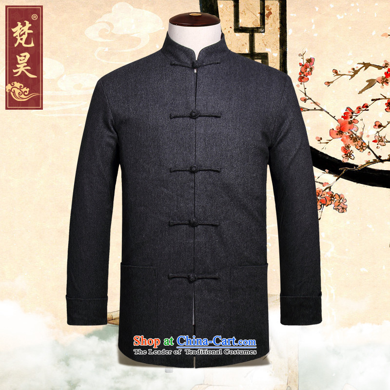 The autumn 2015 New Men Tang jackets Chinese collar long-sleeved manually Tang dynasty燱869 snap-燾arbon燲L