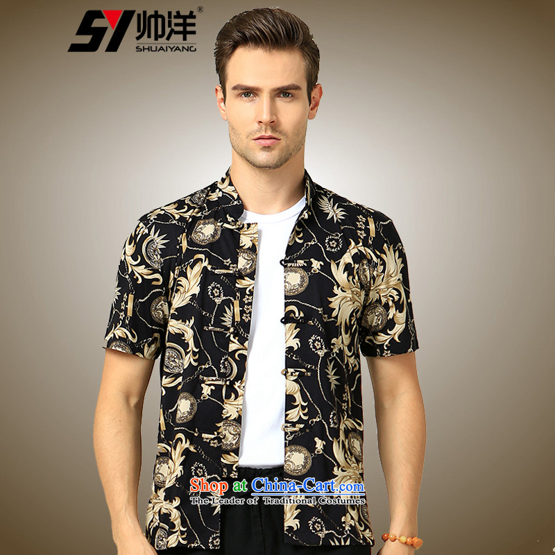The Ocean 2015 summer cool new Sau San Stamp China wind men short-sleeved shirt Tang Dynasty Chinese tunic m cotton Satin White Flower�170/M