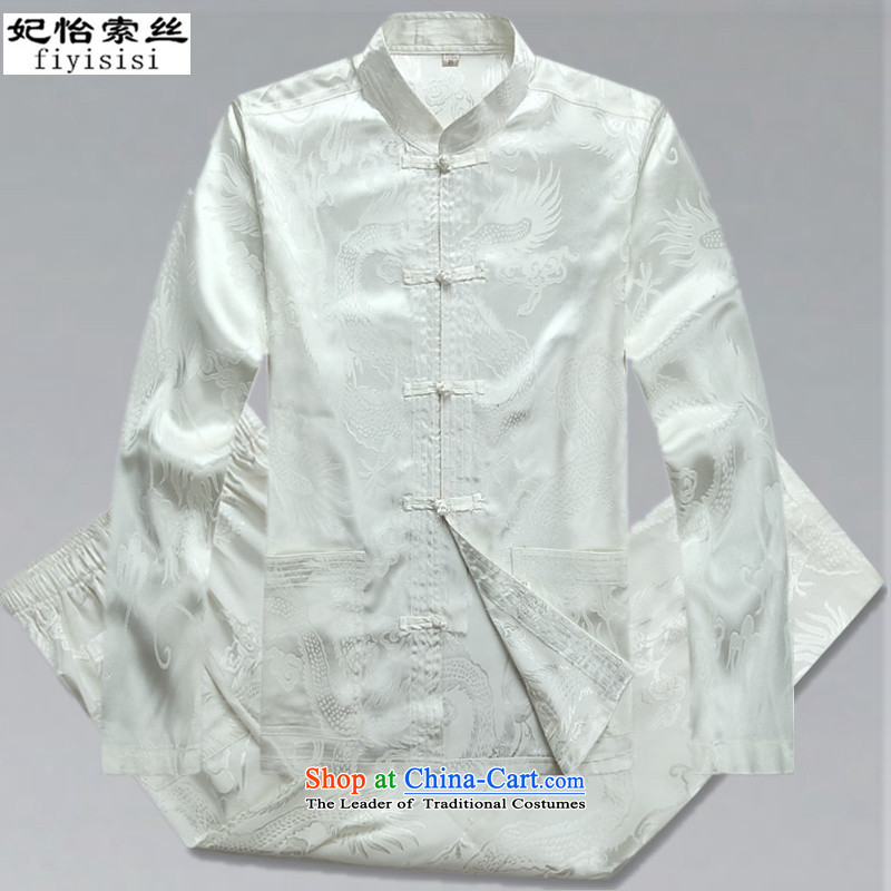 Princess Selina Chow in men's long-sleeved Tang Dynasty Package during the spring and autumn, collar loose version China wind up Han-men detained in T-shirt jacket older Tang Dynasty Package white 180/XL Kit