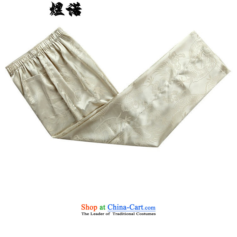 Familiar with the new long-sleeved men Tang Dynasty Package for the elderly men with elderly men's grandfather father Tang dynasty summer load father Han-spring and autumn grandpa national costumes beige kit聽M/170, familiar with the , , , shopping on the