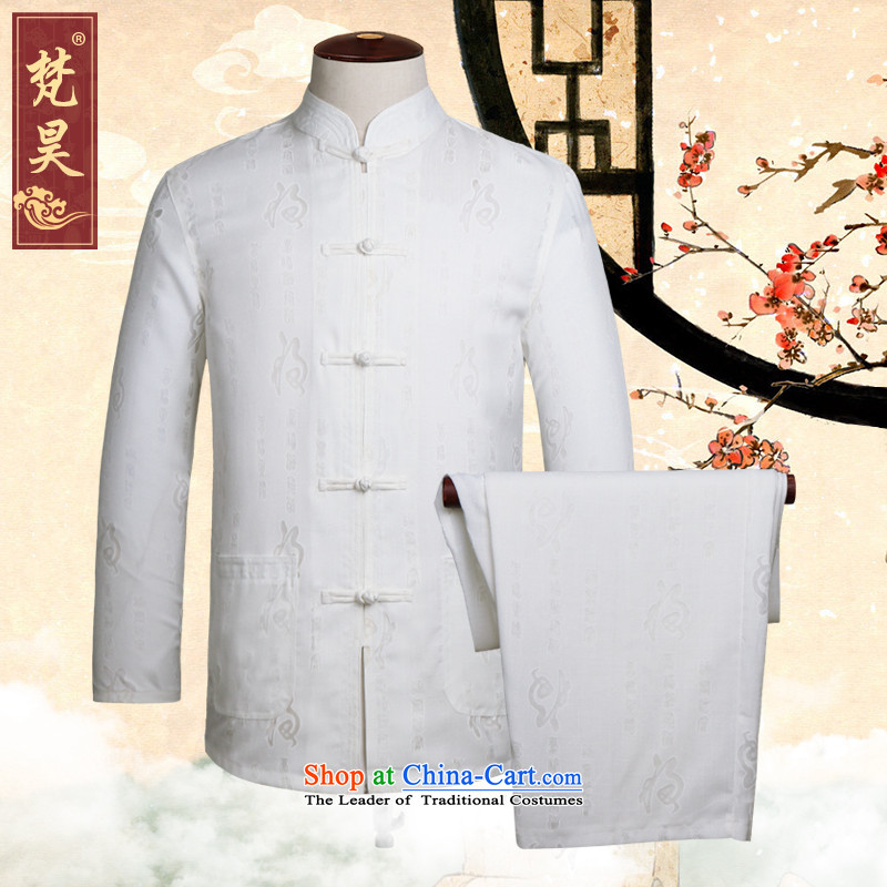 Van Gogh Ho Tang dynasty linen package for long-sleeved men older Tray Tie shirt cotton linen Han-kung fu shirt TCM505 load father white�L
