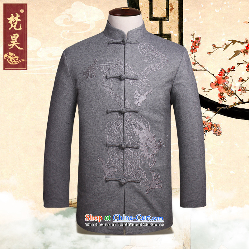 Van Gogh's autumn and winter Tang New Men's Jackets in older long-sleeved warm collar W1317 Tang dynasty China Wind Light Gray聽4XL