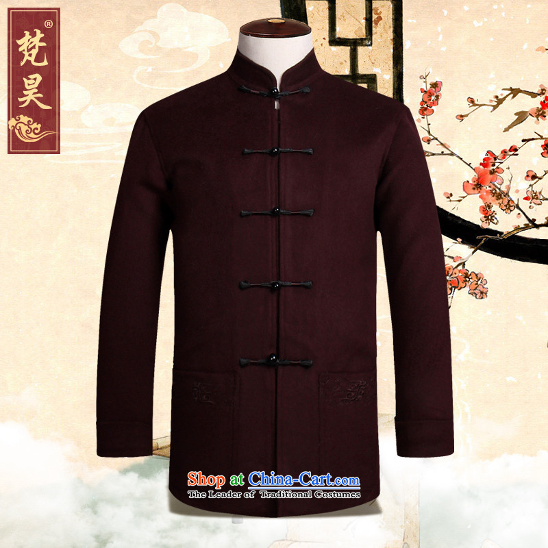 Van Gogh's new Tang dynasty and long-sleeved autumn and winter warm jacket for older gross? leisure jacket W819 wine red�XL
