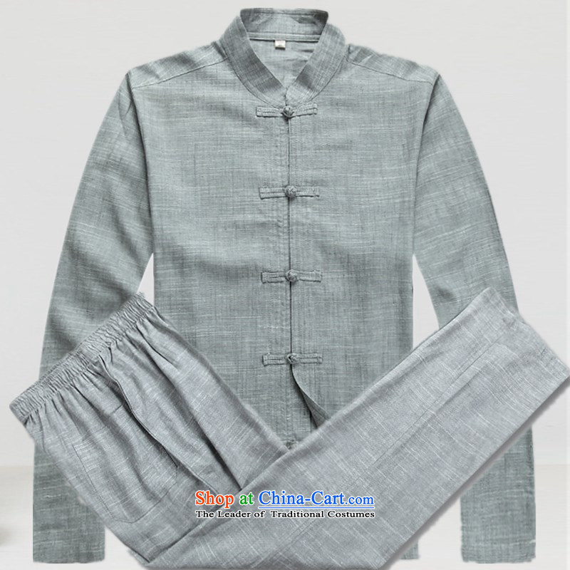 The Mai-Mai multi-spring and summer new linen men Tang Dynasty Large male long-sleeved kit old folk weave of older persons in the Chinese shirt father installed China wind up charge-Cheong Wa gray suit Pants Shirts燲L_180