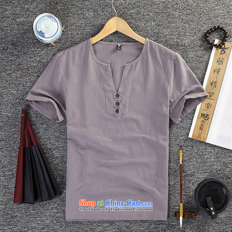 Mrs Rafael Hui Jimmy Carter _GUSSKATER_ ethnic linen clothes summer half sleeve larger cotton linen T-shirt China wind Short Sleeve V-neck men thin gray shirt relaxd聽4XL