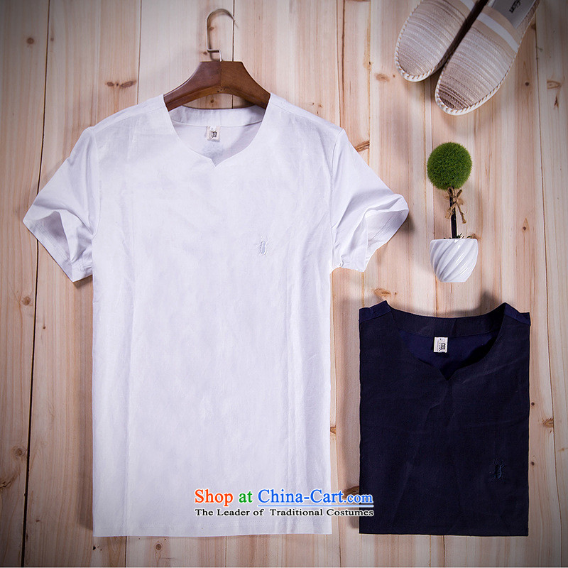 Mrs Rafael Hui GUSSKATER_ Jimmy Carter _China wind cotton linen men's half short-sleeved T-shirt men's t ? linen national liberal summer to intensify the Navy燤