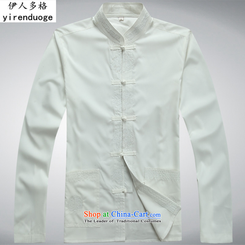 The Mai-Mai more new men long-sleeved shirt of older persons in the Tang dynasty and the summer of the spring and fall of Chinese Han-National Dress Shirt XL China wind ball-white T-shirt?M/170 services