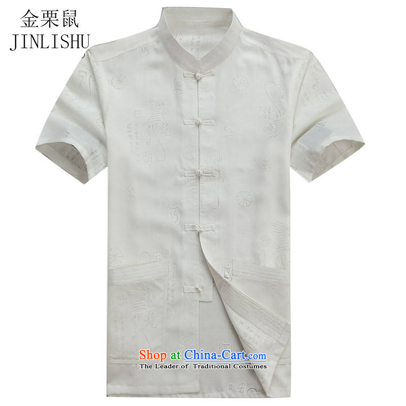 Kanaguri Mouse middle-aged men summer short-sleeved shirt Tang dynasty in older father replacing Mock-Neck Shirt white聽XXL_185 half sleeve