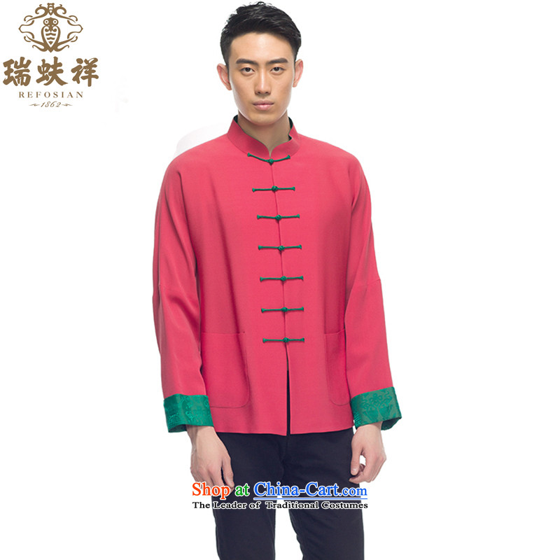 Thus Cheung Man Shui herbs extract snap-Tang dynasty 2015 new stylish shirt silk shirt China wind rose red燲L