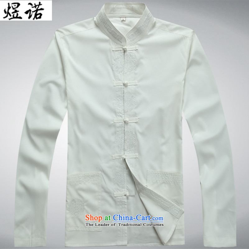 Familiar with the new Man Tang Dynasty Package for long-sleeved elderly Chinese tunic spring and summer load Han-jacket with larger ethnic Grandpa Han-Father's Day 2048燬_165 white T-Shirt