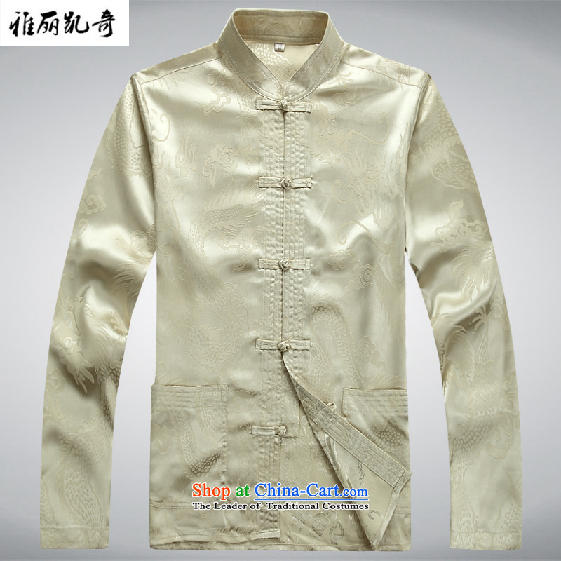 Alice Keci in Tang Dynasty older men and the spring and summer long-sleeved Chinese Chinese tunic kit father blouses national China wind Han-new disc loaded Ball Clip Grandpa service kit shirt with beige pants燲XXL_190