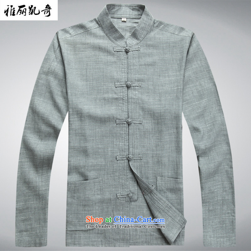 Alice Spring and Autumn Keci Tang Dynasty Chinese linen tray clip middle-aged men Tang Dynasty Package male Long-Sleeve Shirt father installed China Kungfu wind Han-ball-service gray suit pants XXXL/190 Load T-Shirt