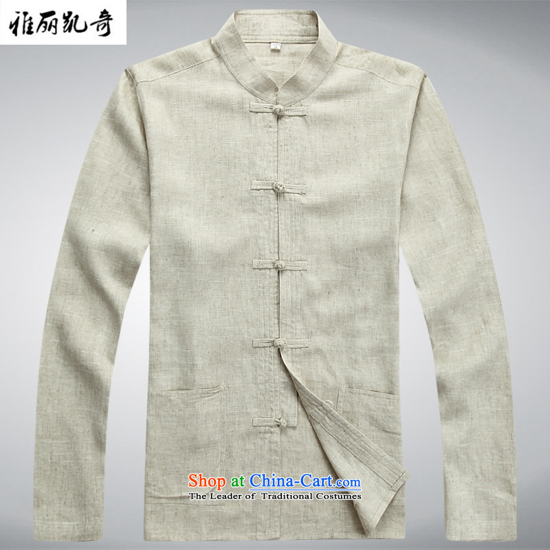 Alice Spring and Autumn Keci Tang Dynasty Chinese linen tray clip middle-aged men Tang Dynasty Package male Long-Sleeve Shirt father installed China Kungfu wind Han-ball-service kit shirt with beige pants?S_165