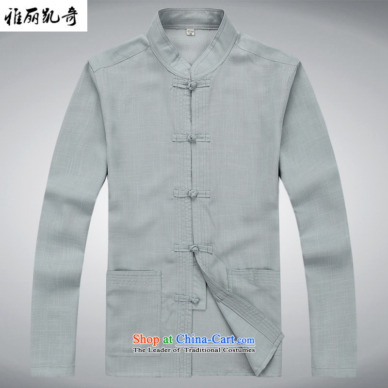 Alice Keci New China wind spring and fall of men of the traditional culture of Chinese linen long-sleeved Tang dynasty meditation Services Service Pack Dad Ball Load Grandpa gray suit pants?M/170 Load T-Shirt