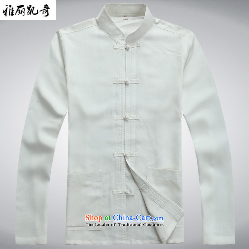 Alice Keci New China wind spring and fall of men of the traditional culture of Chinese linen long-sleeved Tang dynasty meditation Services Service Pack Dad Ball Mount White Kit Grandpa shirt plus pants燲XL_185