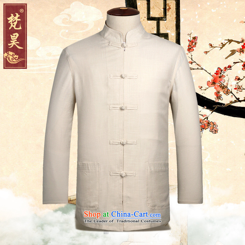 Van Gogh's old Tang dynasty blacklead male Long-Sleeve Shirt that Chinese cotton linen older Han-large CM507 Yellow�L
