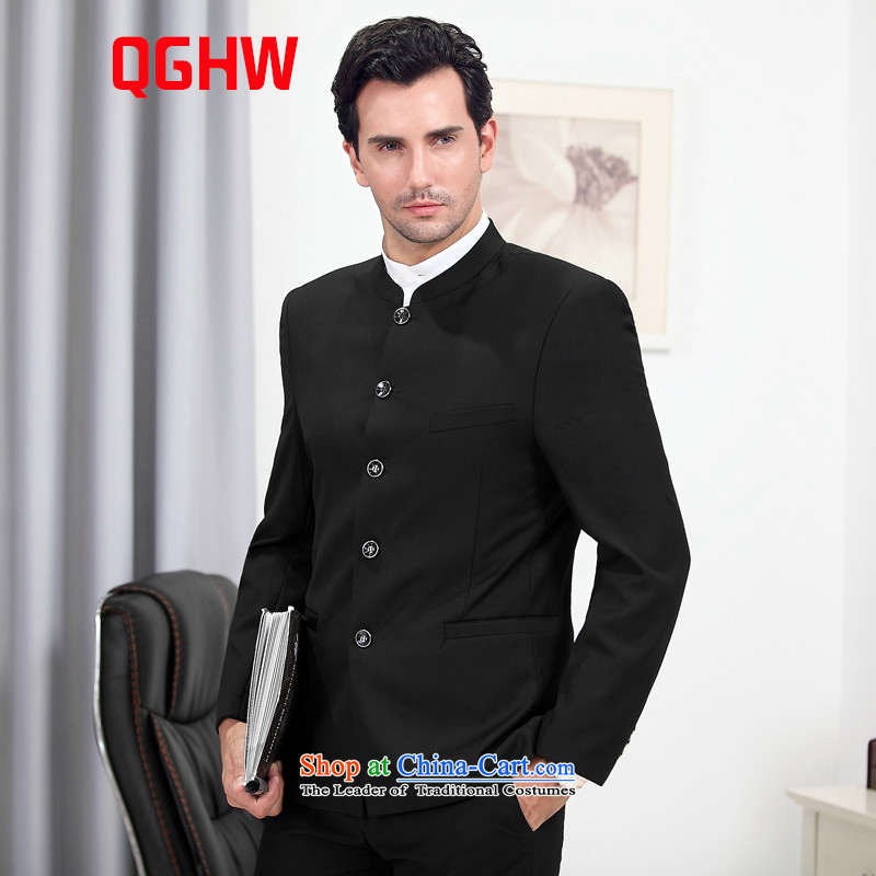 聽New Load autumn QGHW men business men's single row detained suits Chinese tunic black jacket + pants + white shirt聽Li-polymer