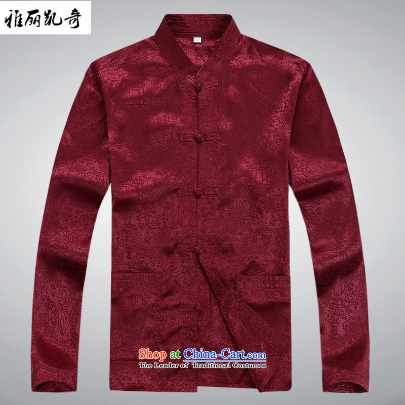 Alice Keci older men long-sleeved Tang Dynasty Package Men Sauna Silk Tie sheikhs dress up casual relaxd improved China wind Han-ball jogs Services service kit shirt with red trousers�XXXL/190