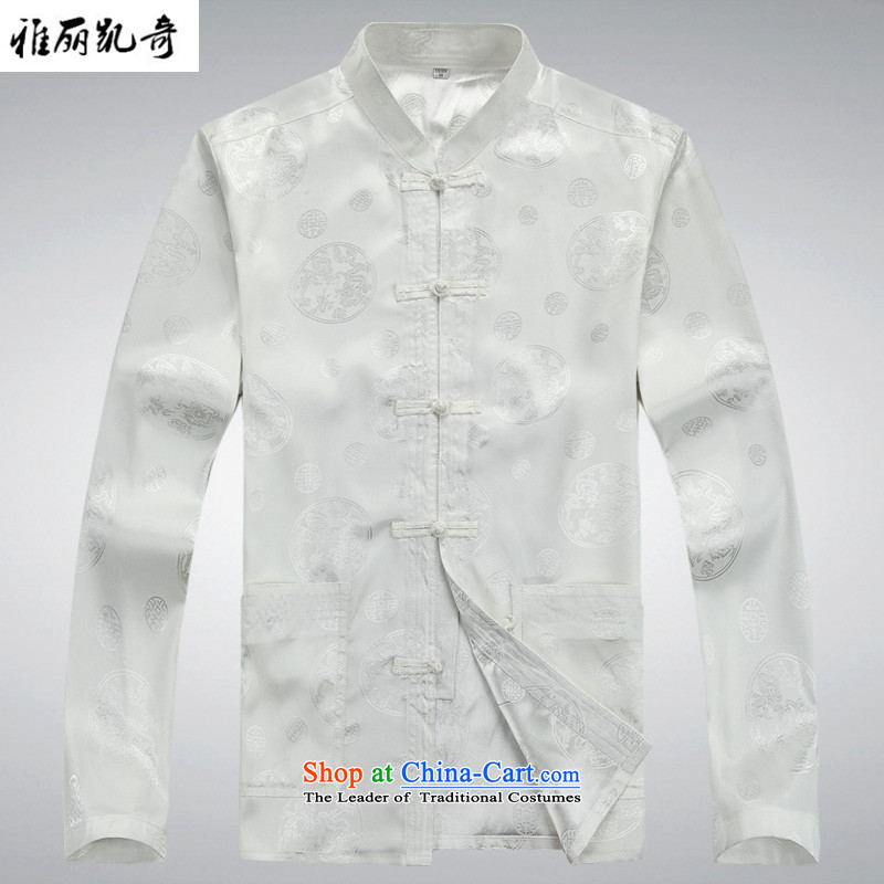 Alice Keci summer, older men Tang Dynasty Tang Dynasty Package of older persons and Tang dynasty during the spring and autumn long-sleeved older Tang dynasty China wind load father Han-ball-white T-shirt燤_170 services