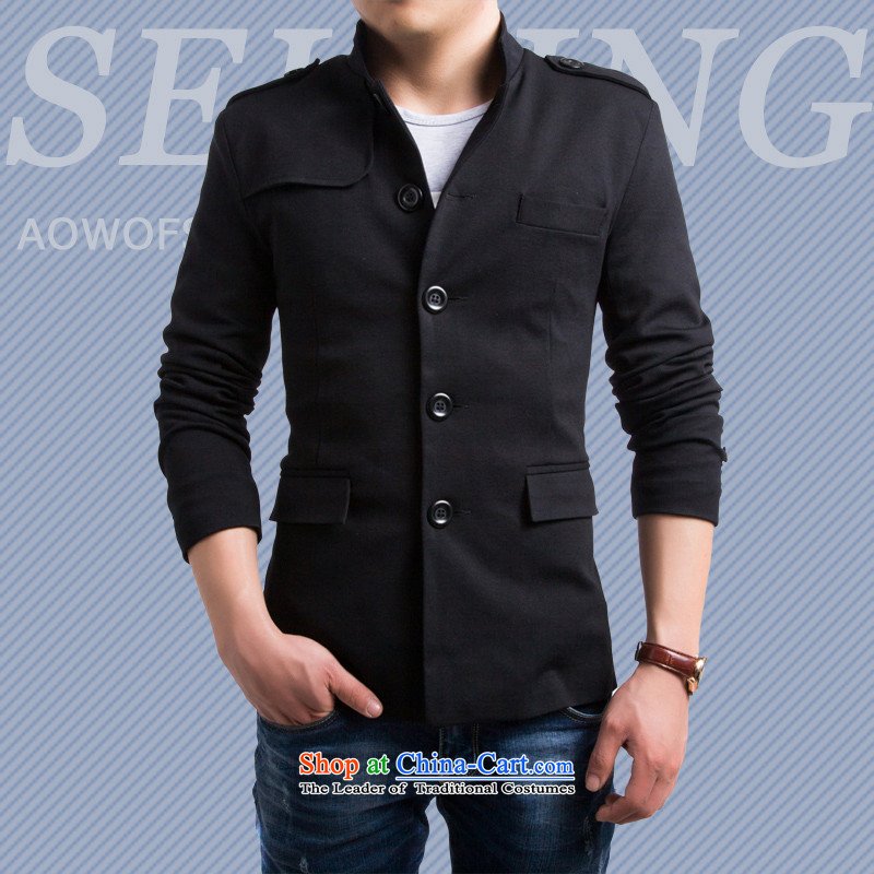 The year 2015 is smart casual men fall and winter New Sau San England Men's Mock-Neck leisure suit male small black male Chinese tunic聽L