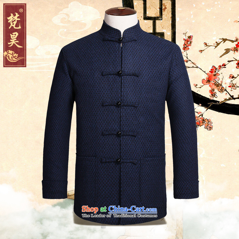 Van Gogh's autumn and winter new long-sleeve sweater in Tang Dynasty Chinese collar manually disc detained wool Tang dynasty blue聽3XL W818