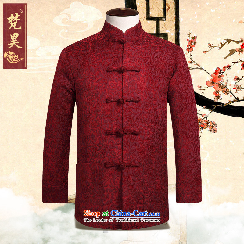 Van Gogh's autumn and winter new Tang Dynasty Chinese long-sleeve sweater and a mock-neck disc detained men's manual Tang dynasty聽W816聽wine red聽2XL