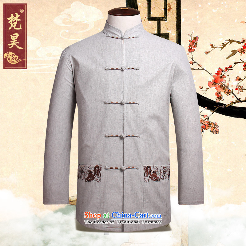 Van Gogh's new autumn replacing men in Tang Dynasty Long-sleeve older solid color cotton linen muslin old men Tang dynasty CM526 Light Gray?2XL