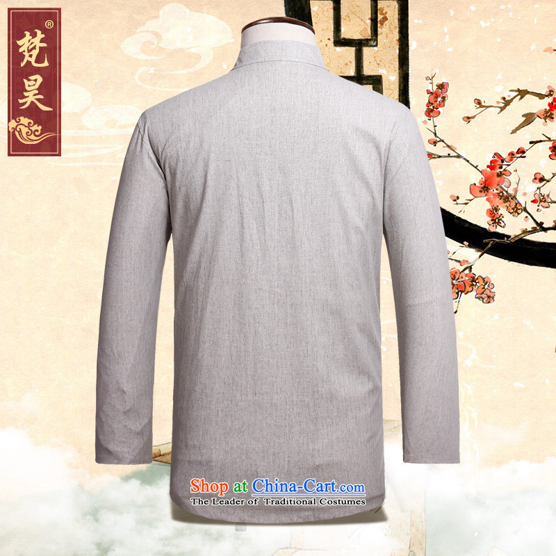 Van Gogh's new autumn replacing men in Tang Dynasty Long-sleeve older solid color cotton linen muslin old men Tang dynasty CM526 light gray聽2XL, Van Gogh's shopping on the Internet has been pressed.