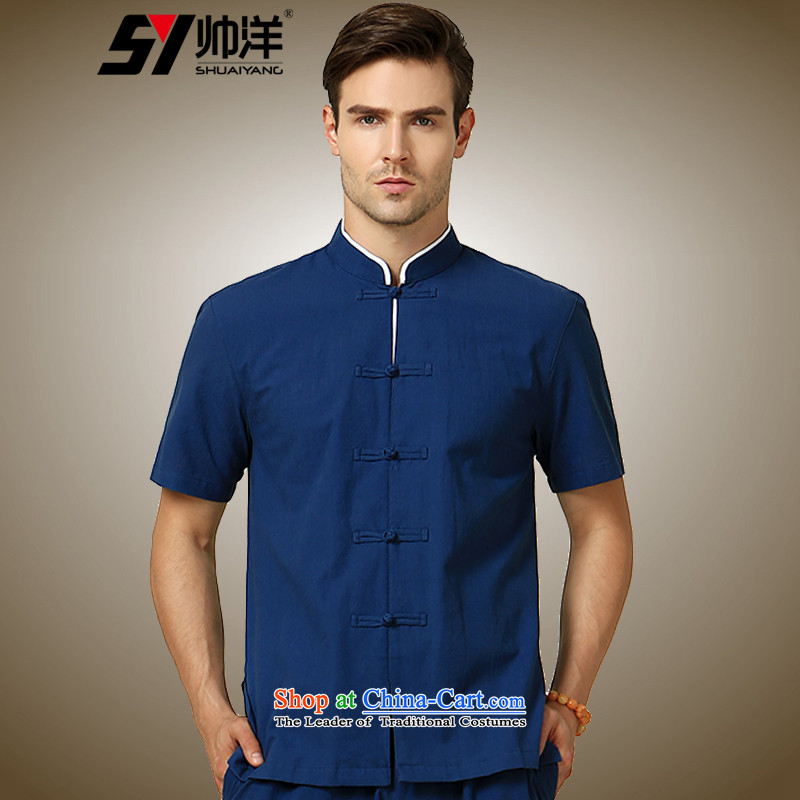 The Ocean 2015 summer cool new China wind men Tang dynasty short-sleeved shirt Chinese men's shirts, Sau San disk detained navy blue _single short-sleeved 170_M_
