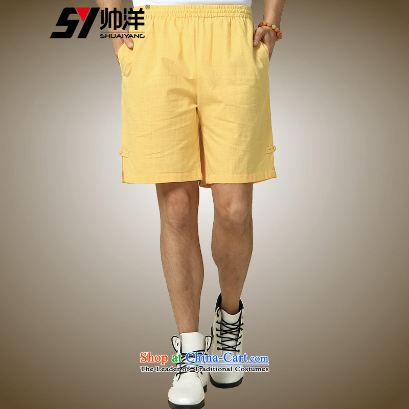 The Ocean 2015 summer cool new men Tang Dress Shorts China Wind Pants Chinese Disc detained Men's Shorts yellow _single_ 185_XXL Shorts