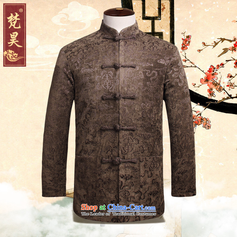 Van Gogh's new autumn and winter jackets men in Tang long-sleeved older manually large snap-Tang dynasty W813 coffee-colored�L